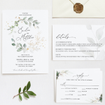 Gold Leaf Greenery Wedding Invitation Suite