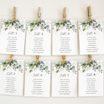 Herbal Greenery Seating Chart Cards