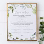 Boho Greenery Wreath Marriage Certificate Keepsake