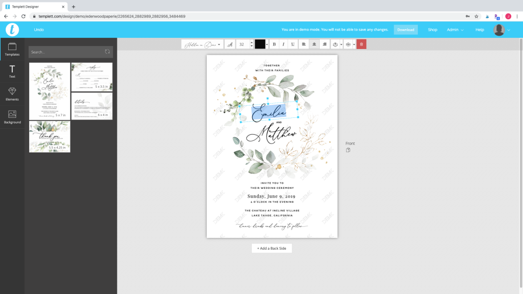 wedding invitation template suite in Templett design area