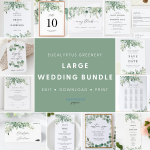 Eucalyptus Greenery Wedding Template Bundle