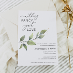 Nothing Fancy Just Love Elopement Celebration Party Invitation Announcement, Greenery Wedding Reception Invitation Template Download