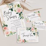 Blush Floral Baby Shower Invitation Template