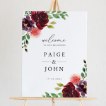 Burgundy & Blush Wedding Welcome Sign Template